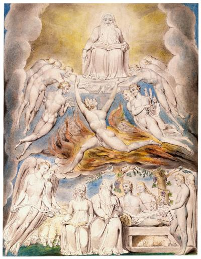William Blake - aquarelle de l'illustration de la planche 20 du Livre de Job : Satan before the throne of God (1805)