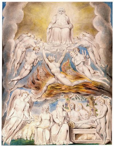 William Blake - aquarelle de l'illustration de la planche 20 du Livre de Job : Satan before the throne of God (1805)