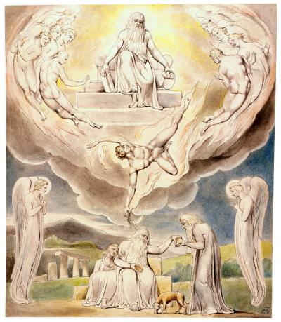 William Blake - aquarelle de l'illustration de la planche 5 du Livre de Job : Satan Going Forth from the Presence of the Lord (1805)