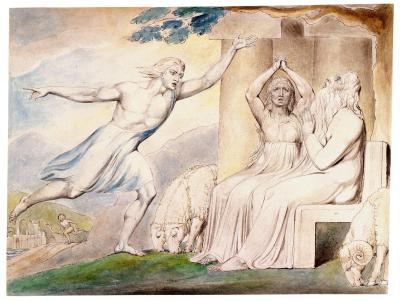 William Blake - aquarelle de l'illustration de la planche 2 du Livre de Job : The Messengers Tell Job of His Misfortunes (1805)