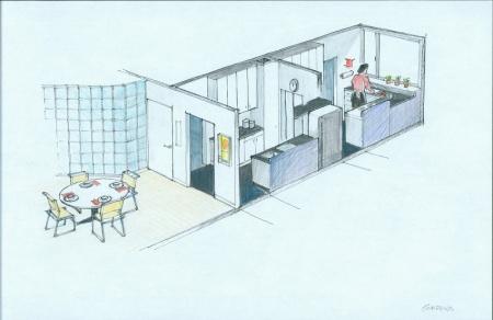 Gropius House à Lincoln : cuisine et salle à manger