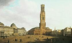Bruges - le beffroi et la grande Place vers 1888