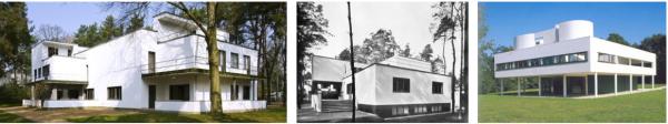 Meisterhaeuser de Dessau (1925-26) et villa Savoye de Le Corbusier (1929-1931)