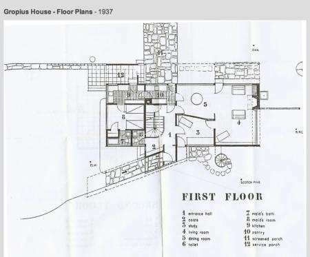 Gropius House à Lincoln - plan du rez-de-chaussée