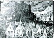 Franz Hellens, En ville morte. Les scories. dessin de Jules de Bruycker