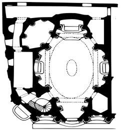 plan de l'église San Carlo alle Quattro Fontane à Rome