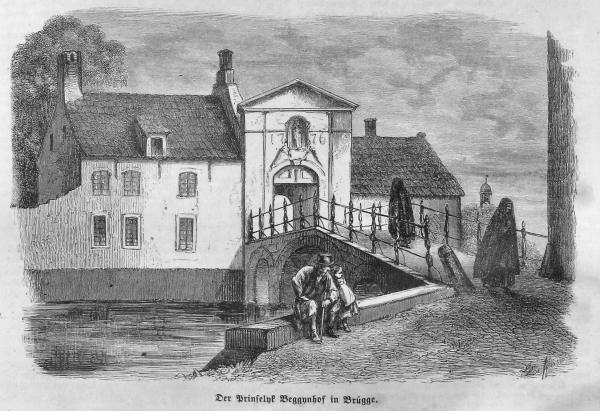 Im Beguinenhof zu Brügge - Die Gartenlaube, 1863