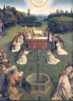 Les frères Van Eyck - Adoration de l'anneau mystique (panneau central inférieur du retable de Gand)