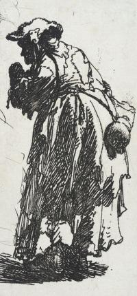 Rembrandt - vieille mendiante avec une gourde, vers 1630