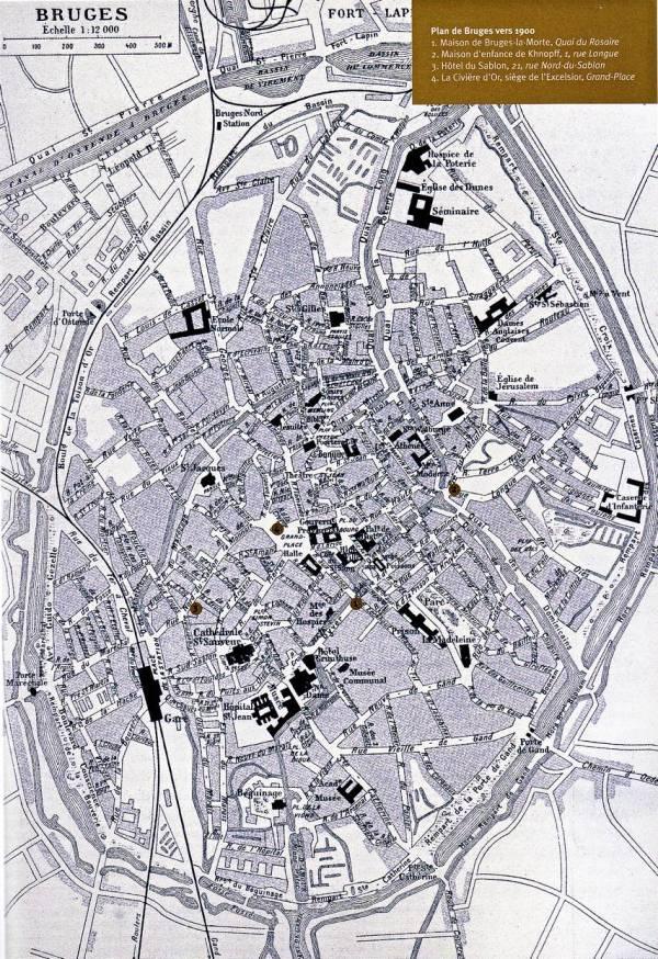 Plan de Bruges de 1900 avec le nom des rues en français comme dans Bruges-la-Morte