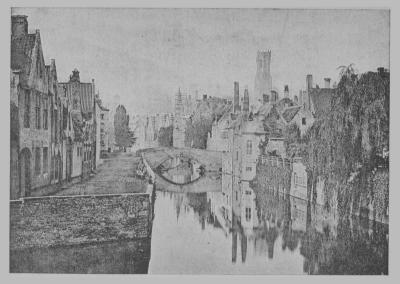 """illustration du roman """"Bruges la morte"""" de Rodenbach - (Gezicht op de Groene Rei van oost naar west)"""