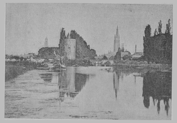 """illustration du roman """"Bruges la morte"""" de Rodenbach - vue du Minnewater"""