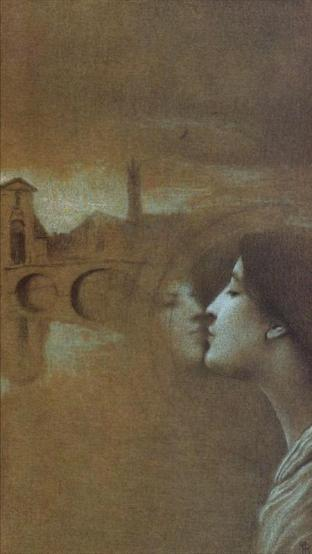With Grégoire Le Roy. My Heart cries for the Past by Fernand Khnopff. This drawing is dedicated to the poet Grégoire Le Roy, 1862-1941. It shows a view of Bruges-1889