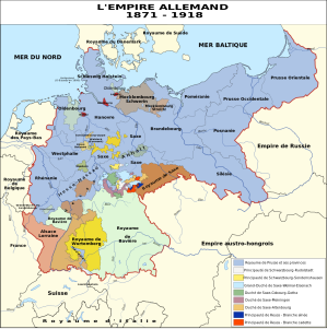 carte de l'Empire allemand de 1871 à 1918