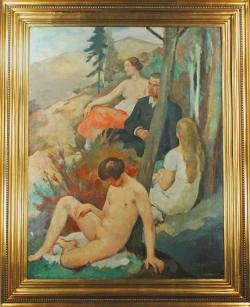 Hugo Boettinger - Trois femmes et un homme en forêt, 1926