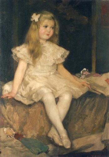 Hugo Boettinger - petite fille à la poupée,1907