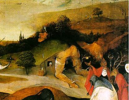"""Hieronymus Bosch - l'homme-paysage - volet gauche du triptyque """"la tentation de Saint-ZAntoine"""", entre 1495 et 1515 - musée de Lisbonne"""