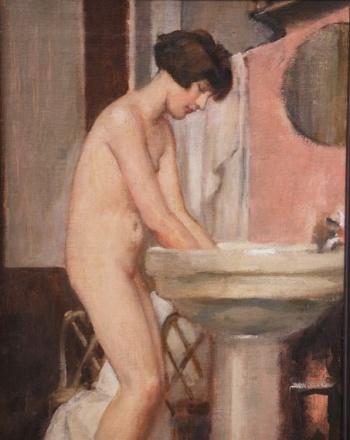 Hugo Boettinger - jeune fille faisant sa toilette