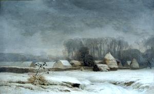 Eugene Lavieille - Barbizon sous la neige à l'hiver 1855
