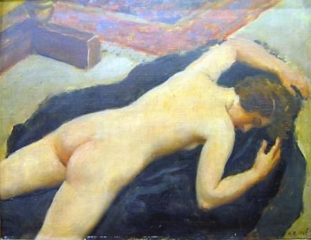 hugo-boettinger-nude-girl-lying-face-downwards-oil-on-triplex-38,5x49 cm-1926