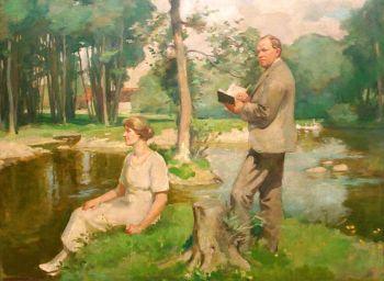 Près d'Ortice - autoportrait avec sa femme Rosa, 1922