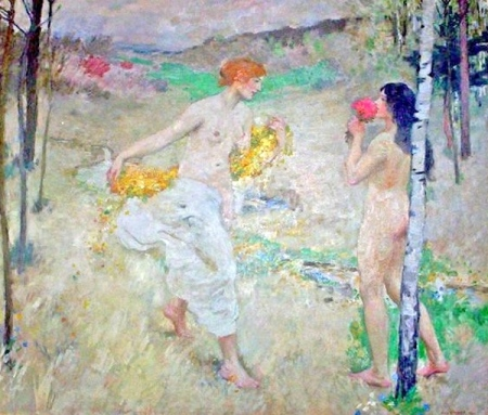 Hugo Boettinger - les deux jeunes filles aux fleurs