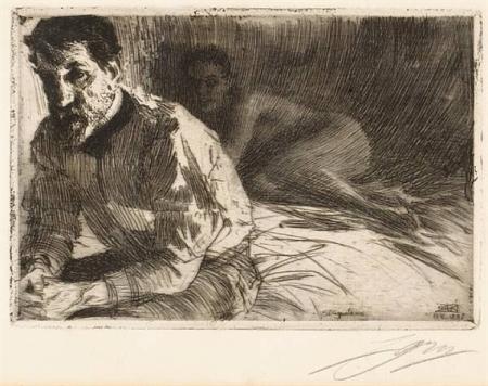 Anders Zorn - August Saint Gaudens II ; Vallkulla; Frightened, 1897