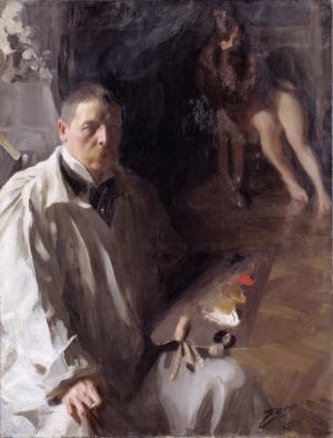 Anders Zorn -autoportrait avec modèle, 1896