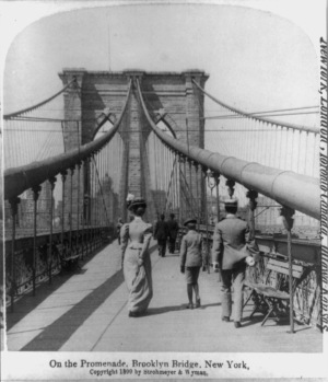 Brooklyn Bridge, New York, 1899 - Pedestrian Crossing