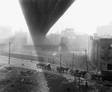 Horse carts under Brooklyn Bridge - May-6-1918