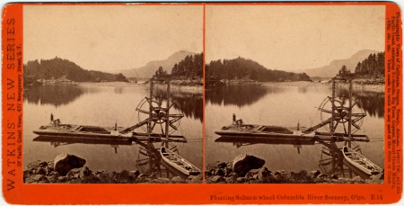 Watkins - Stereograph of floating salmon wheel amd fisherman near Bradford