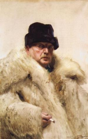 Anders Zorn - selfportrait in a wolfskin, 1915
