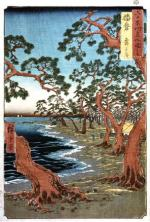 Hiroshige - Maiko Beach in Harima Province, colour woodbloc, 1854