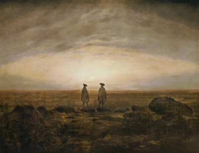 Caspar David Friedrich - Deux hommes au bord de la mer, au coucher du soleil (1817) - Berlin, National Galerie