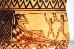 Polyphème aveuglé par Ulysse, cratère du 7e s. av JC