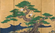 Auspicious pines, bamboo, plum, cranes and turtles (detail), Edo period (1615 –1868), by Kano Sansetsu (1590–1651). Japan.
