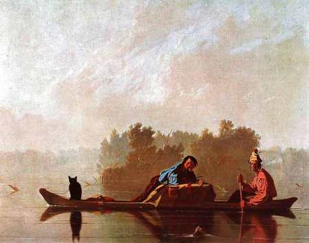 George Caleb Bingham - trappeurs descendant le Missouri, vers 1845