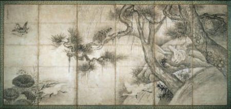 Sesshu Toyo - Birds in Trees, Saru taka zu byobu, 17th-18th century - Museum of Fine Arts, Boston