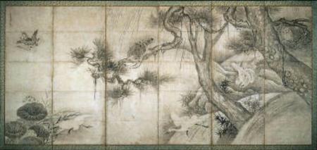 Sesshu Toyo - Birds in Trees, Saru taka zu byobu, 17th-18th century - Museum of Fine Arts, Boston