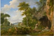 La toile représente la campagne romaine. Un troupeau de moutons broute l'herbe au bord d'une rivière. Un berger et son chien viennent de surprendre une jeune femme dans son bain. Au-dessus de la verdure se déploie un ciel fait de nuages et de bleu. Au loin, mais au centre de la composition, est placé un temple circulaire, probablement un temple de Vesta. En effet, la composition illustre une fable antique tirée des vers de Longus de Lesbos où Daphnis et Chloé se rencontre alors qu'ils sont voués à l'amour. Cette composition apparaît comme le condensé de plusieurs des toiles de Valenciennes. On retrouve le Paysage classique avec berger et troupeau, du musée de Quimper, signé et daté de 1792 ; Narcisse admirant son reflet, daté de 1792, du musée des Beaux-Arts, où l'on retrouve le même paysage, la même présence canine, et l'eau ; et Paysage antique, signé et daté 1790, collection particulière, où nous retrouvons le même temple circulaire. Le peintre s'est donc inspiré de plusieurs de ses propres toiles réalisées quelques années auparavant.