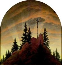 Caspar David Friedrich - Lacroix dans la montagne, le retable de Tetschen, 1808 - Dresde, Galerie Neue Meister
