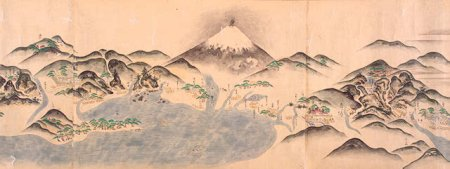 Detail of Japanese manuscript scroll map (35 by 939 cm.) showing the Tokaido, the main land-sea route from Edo (Tokyo) to Nagasaki, with Fujiyama in the background. Kyoho period (1716- 1736).