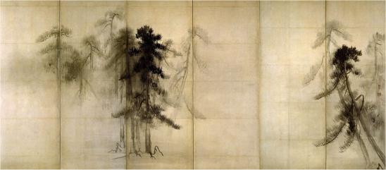Pine Trees, six sided screen, by Hasegawa Tohaku (1539-1610), Japanese
