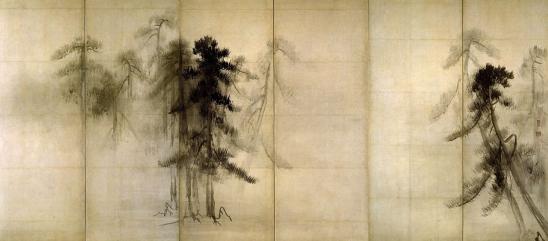 Pine Trees, six sided screen, by Hasegawa Tohaku (1539-1610), Japanese
