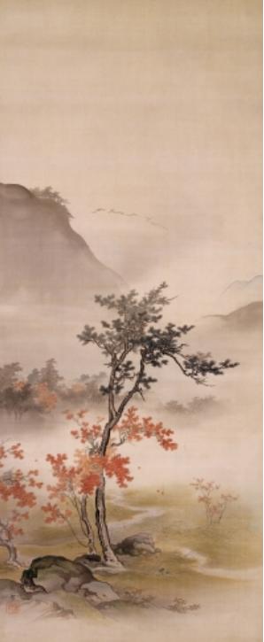 Hashimoto Gaho (1835-1908) cerisiers en fleur et feuilles d'automne (diptych), vers 1893
