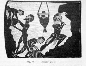 Mineurs grecs, Reproduction d'une plaquette en terre cuite de Corinthe.