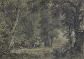 Pierre Henri de Valenciennes - Procris montrant ces flèches magiques à Céphale. Crayon noir, estompe et rehaut de craie blanche, 1796
