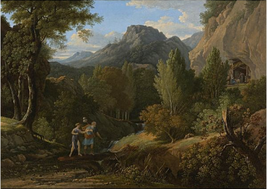 Pierre-Henri de Valenciennes - Psyché, cherchant l'Amour, rencontre le vieillard qui lui aide à passer le ravin pour la conduire dans sa grotte, 1796