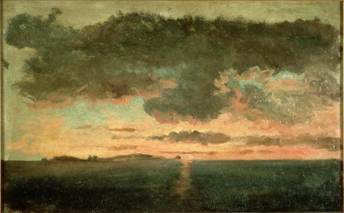 Pierre-Henri de Valenciennes-L'île de Cézembe vue de St-Malo au soleil couchant.