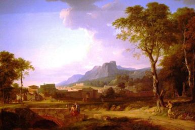 Pierre-Henri de Valenciennes - la fin du Marathon avec une vue imaginaire de Rome,1788